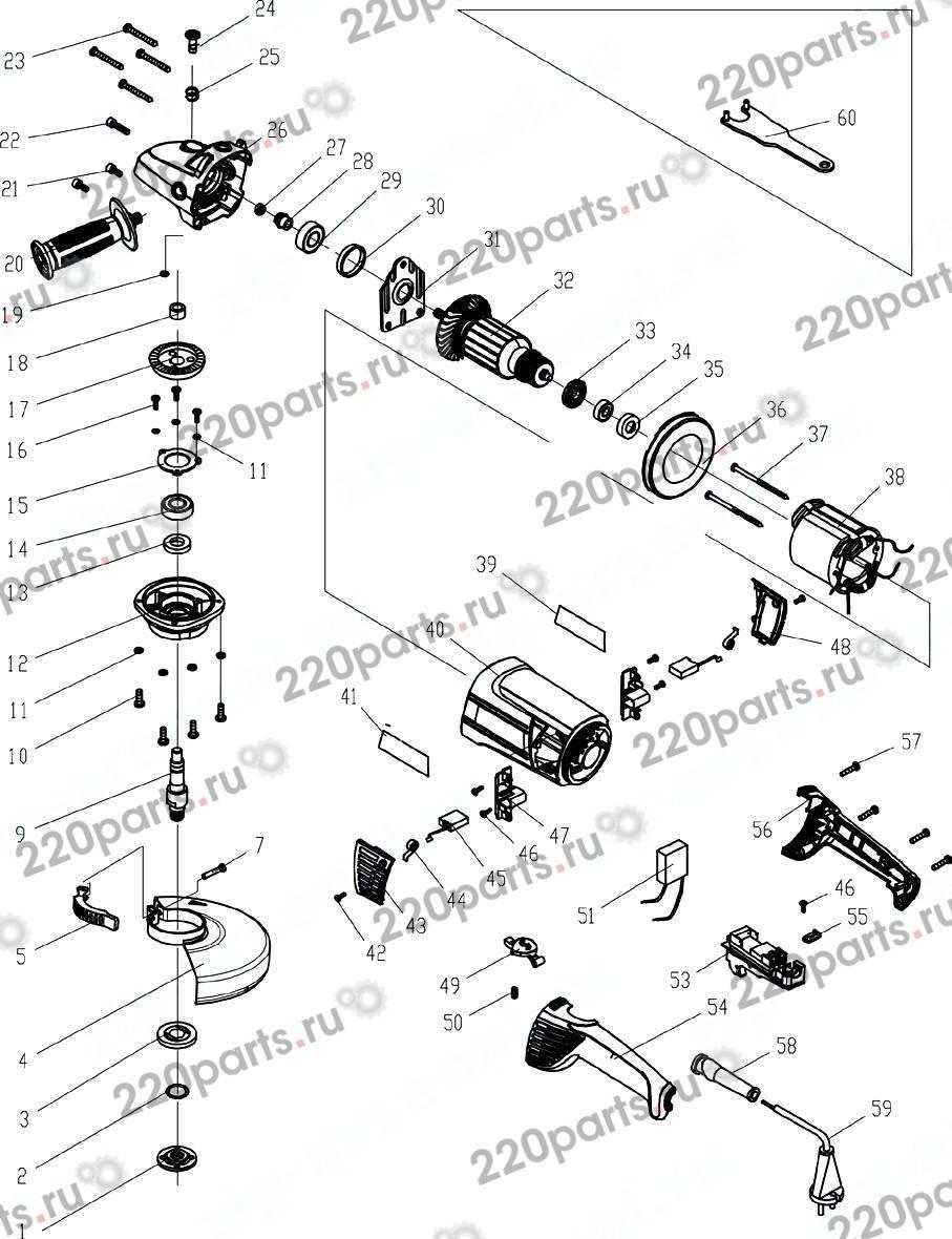 Схема электрическая ушм интерскол